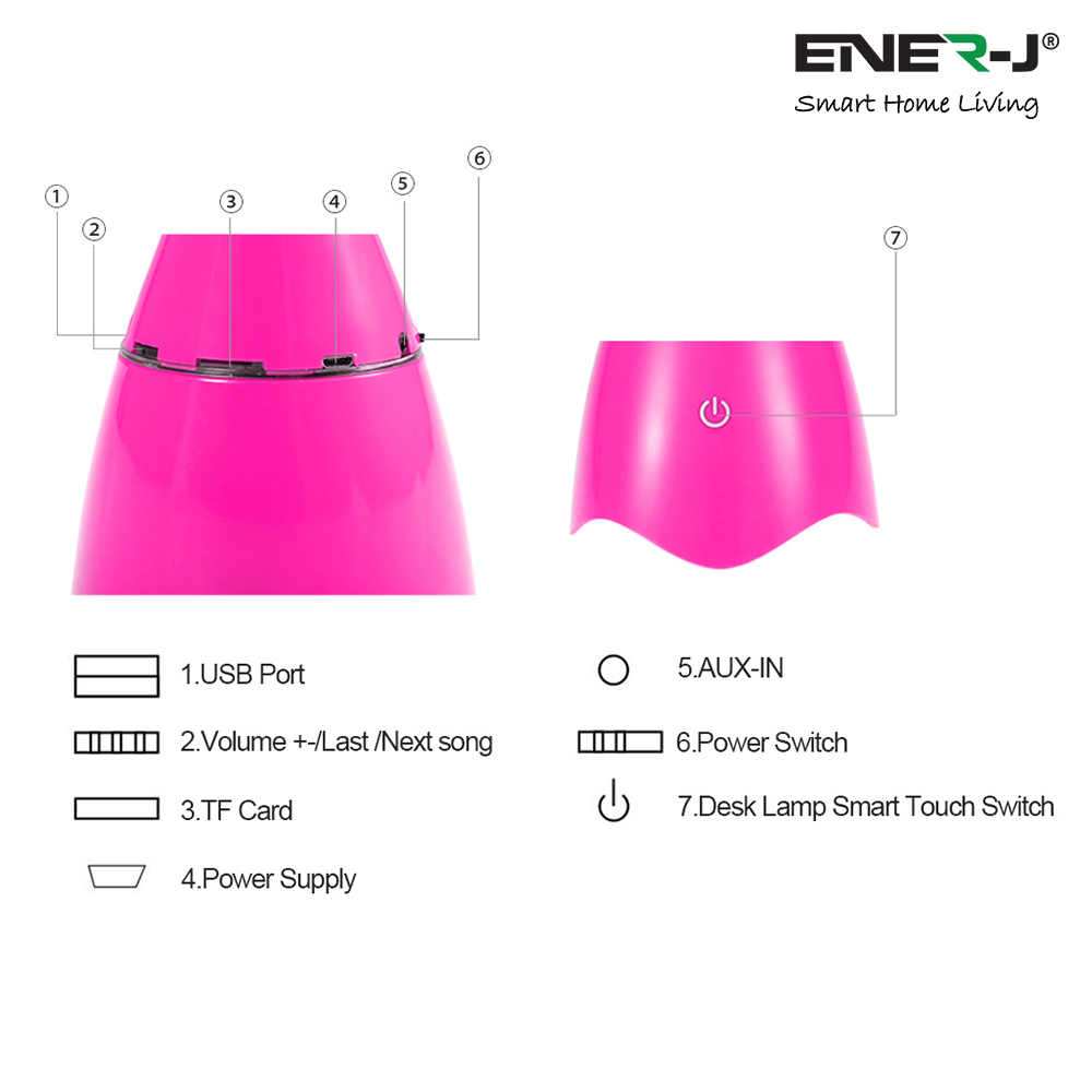 LED DESK LAMP WITH BLUETOOTH SPEAKER-PINK