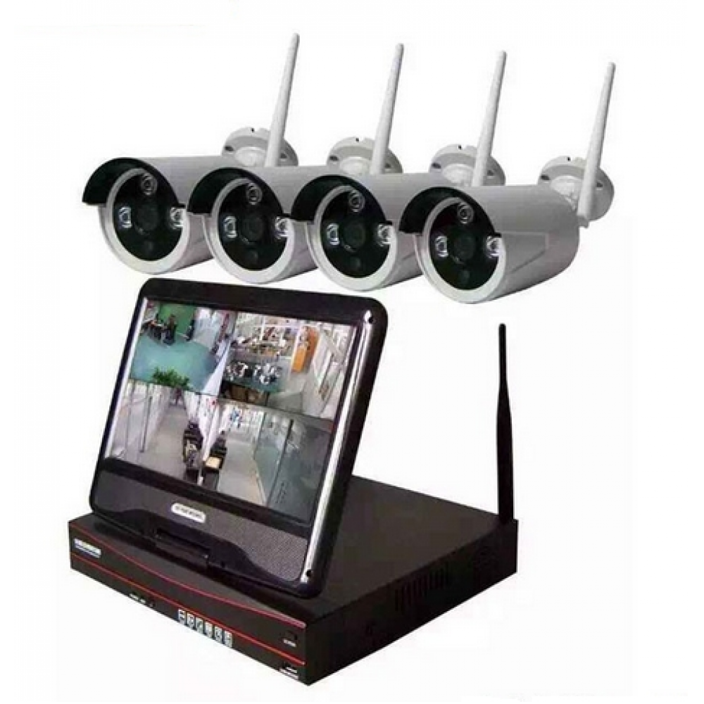 Outdoor Wireless IP Camera System WIFI NVR (4 IP Cameras with a NVR. 4CH 720P Wireless IP Camera & 10inch Monitor)