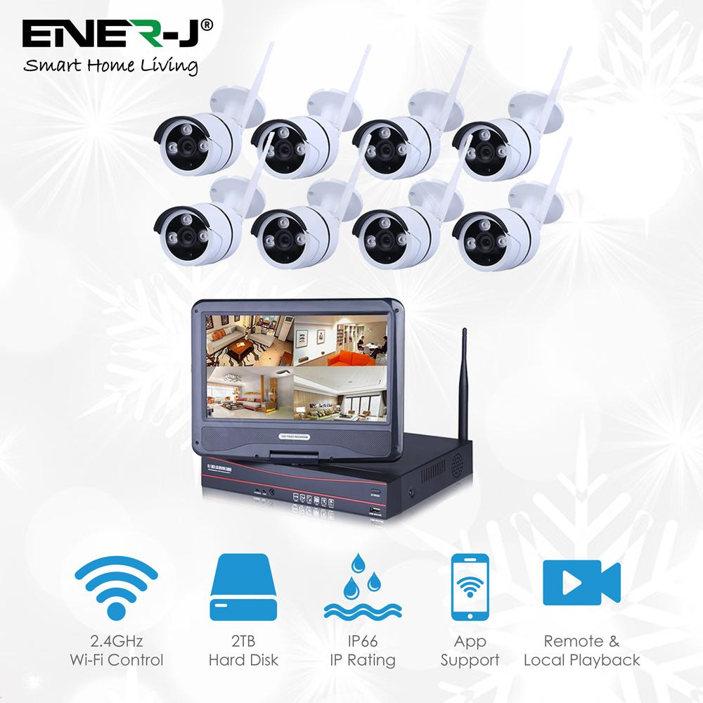 Outdoor Camera Kit 8 IP Cameras with NVR, 2 TB Hard Disk & 10.5 Inches Monitor