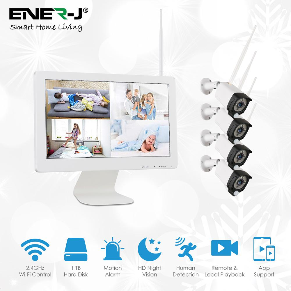 Premium PIR Series: 8 Channel NVR Kit with 4 x 1080P PIR IP Camera, 15.6 inch Screen & 1TB HDD pre installed