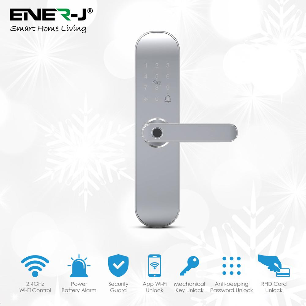Smart WiFi Door Lock (includes 3 RFID card + 3 Mechanical Keys), Silver Body Right Handle