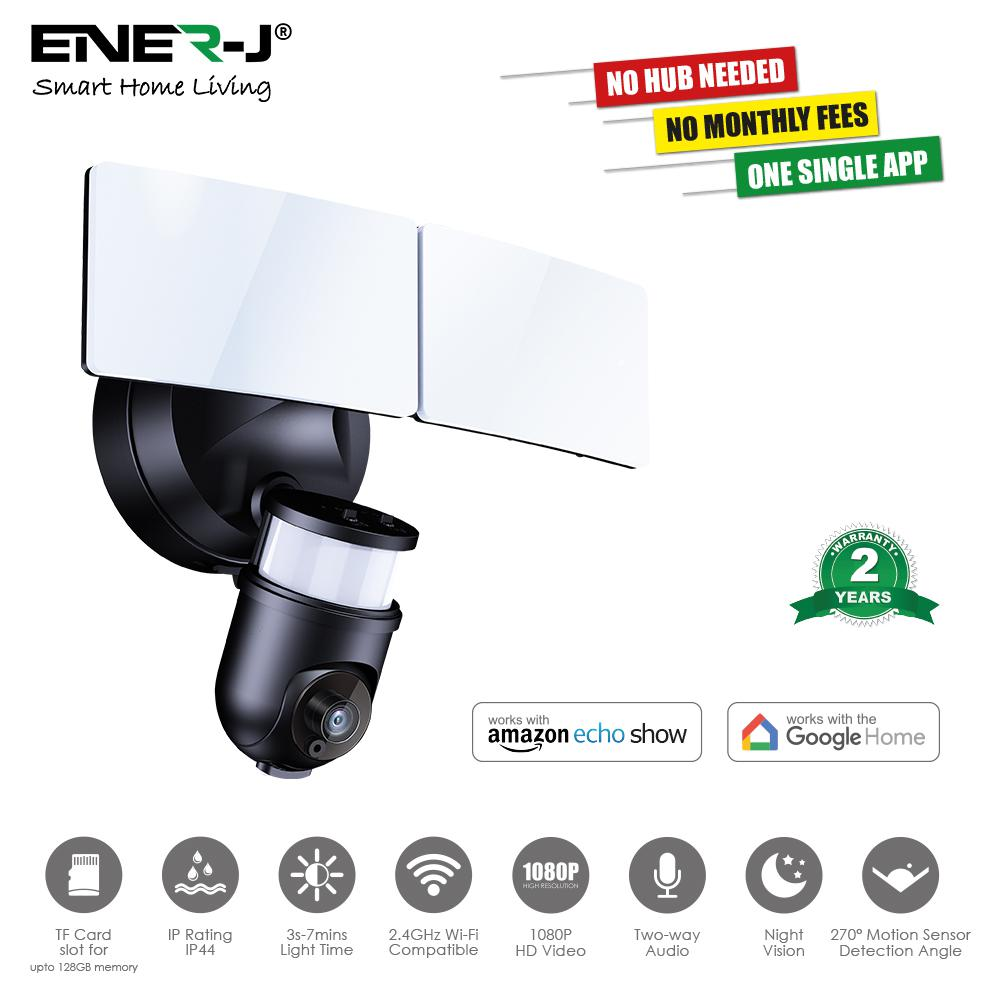 Smart Twin Floodlight Camera, 1080P, Black Body