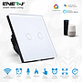 Smart WiFi Touch Glass On/off Switch, 2 Gang