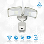 Wifi Outdoor Security Kit with IP Camera and twin LED Floodlight, 2 way audio, white color